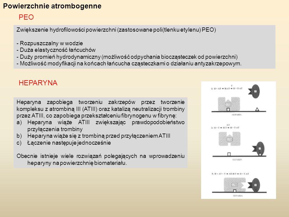 Powierzchnie atrombogenne Zwiększenie hydrofilowości powierzchni (zastosowane poli(tlenku etylenu) PEO) - Rozpuszczalny w wodzie - Duża elastyczność ł