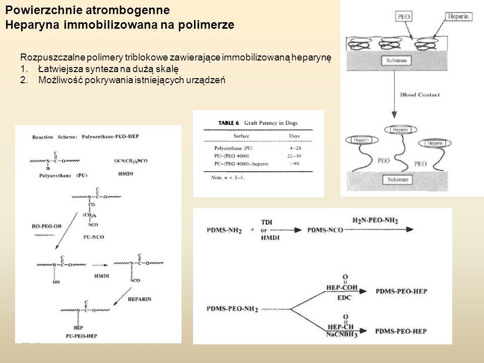 Powierzchnie atrombogenne Heparyna immobilizowana na polimerze Rozpuszczalne polimery triblokowe zawierające immobilizowaną heparynę 1.Łatwiejsza synt