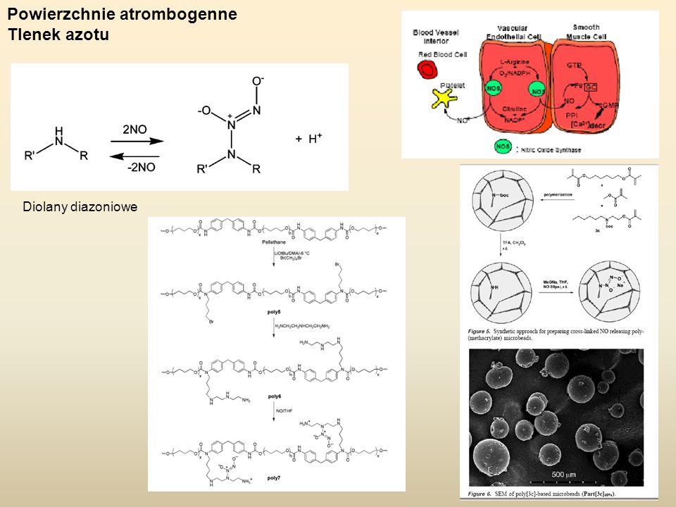 Powierzchnie atrombogenne Tlenek azotu Diolany diazoniowe