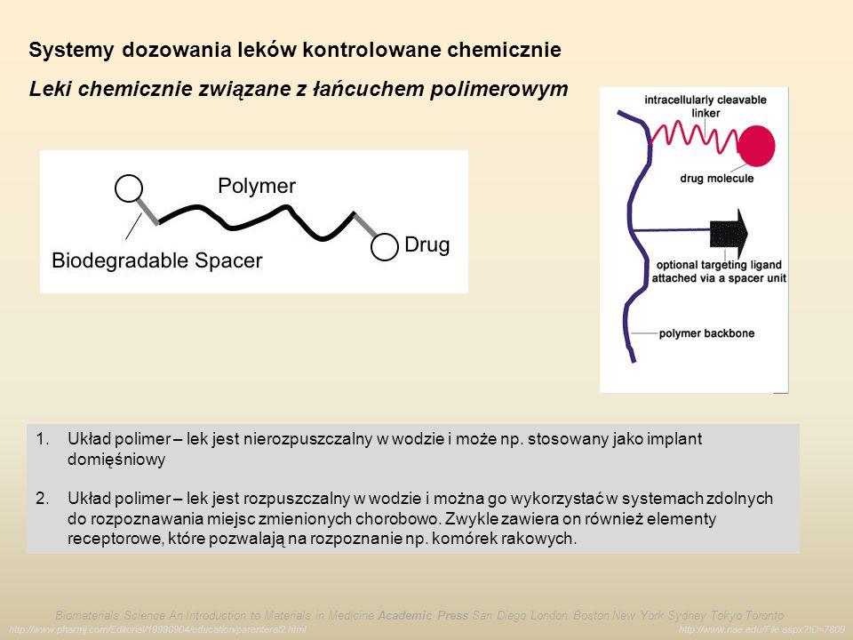 Systemy dozowania leków kontrolowane chemicznie Leki chemicznie związane z łańcuchem polimerowym http://www.nae.edu/File.aspx?ID=7809 Biomaterials Sci