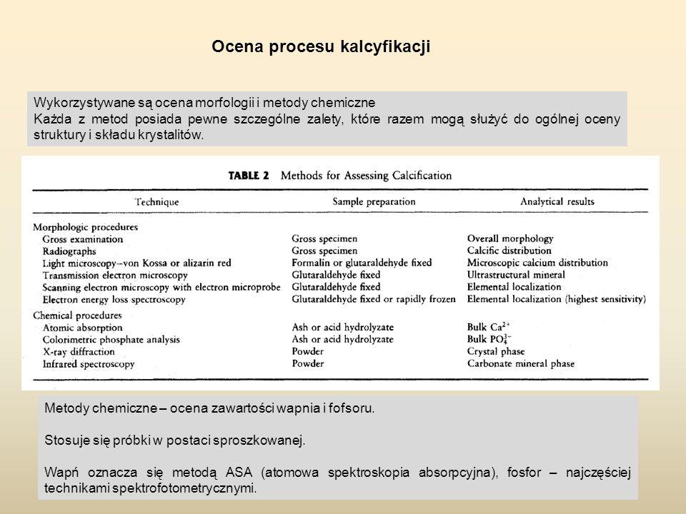 Ocena procesu kalcyfikacji Wykorzystywane są ocena morfologii i metody chemiczne Każda z metod posiada pewne szczególne zalety, które razem mogą służy
