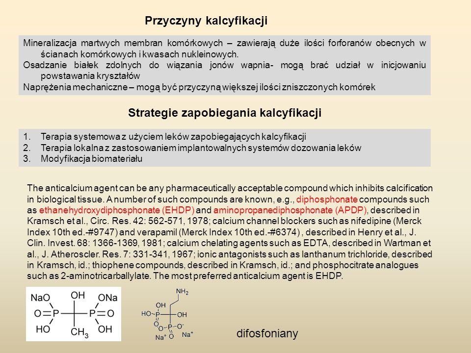 Przyczyny kalcyfikacji Mineralizacja martwych membran komórkowych – zawierają duże ilości forforanów obecnych w ścianach komórkowych i kwasach nuklein