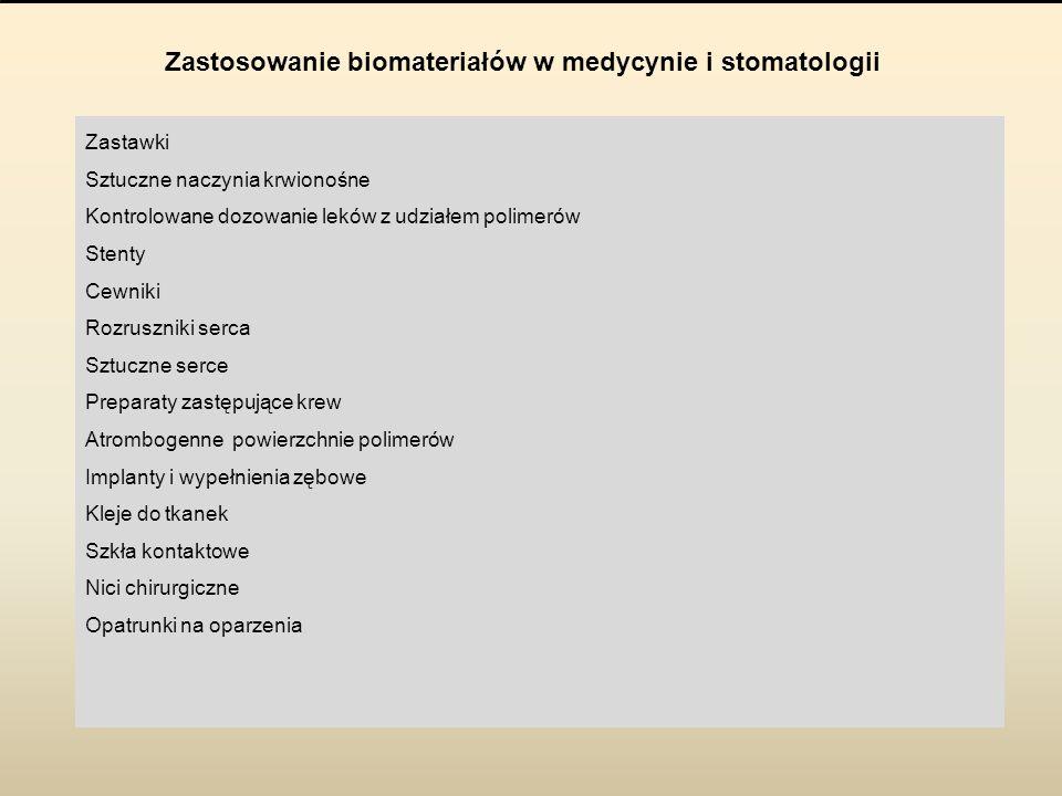Zastosowanie biomateriałów w medycynie i stomatologii Zastawki Sztuczne naczynia krwionośne Kontrolowane dozowanie leków z udziałem polimerów Stenty C
