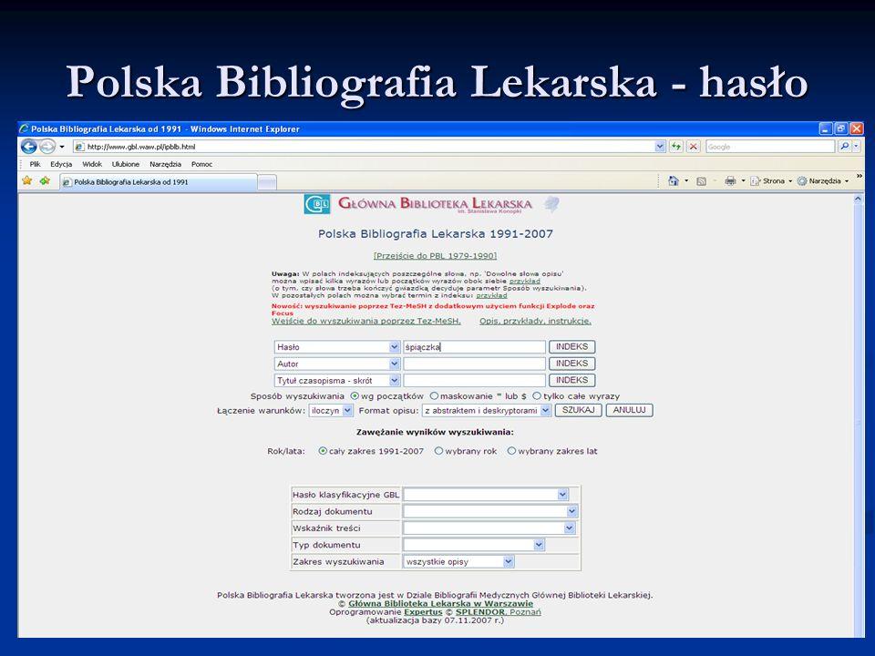 Polska Bibliografia Lekarska - hasło