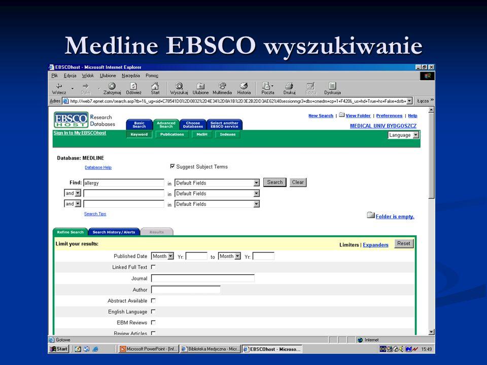 Medline EBSCO wyszukiwanie