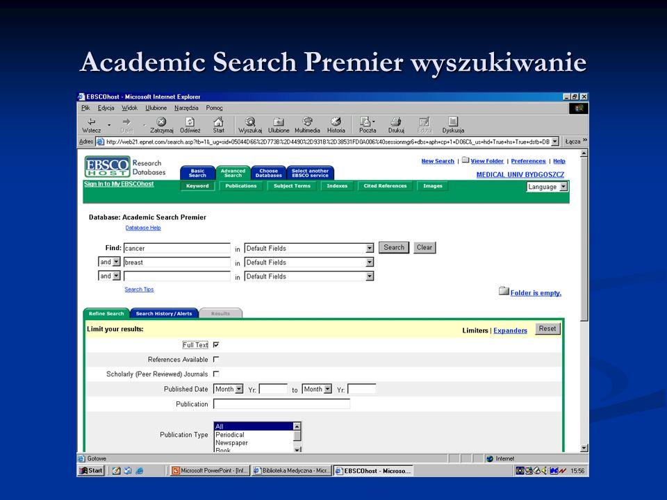 Academic Search Premier wyszukiwanie