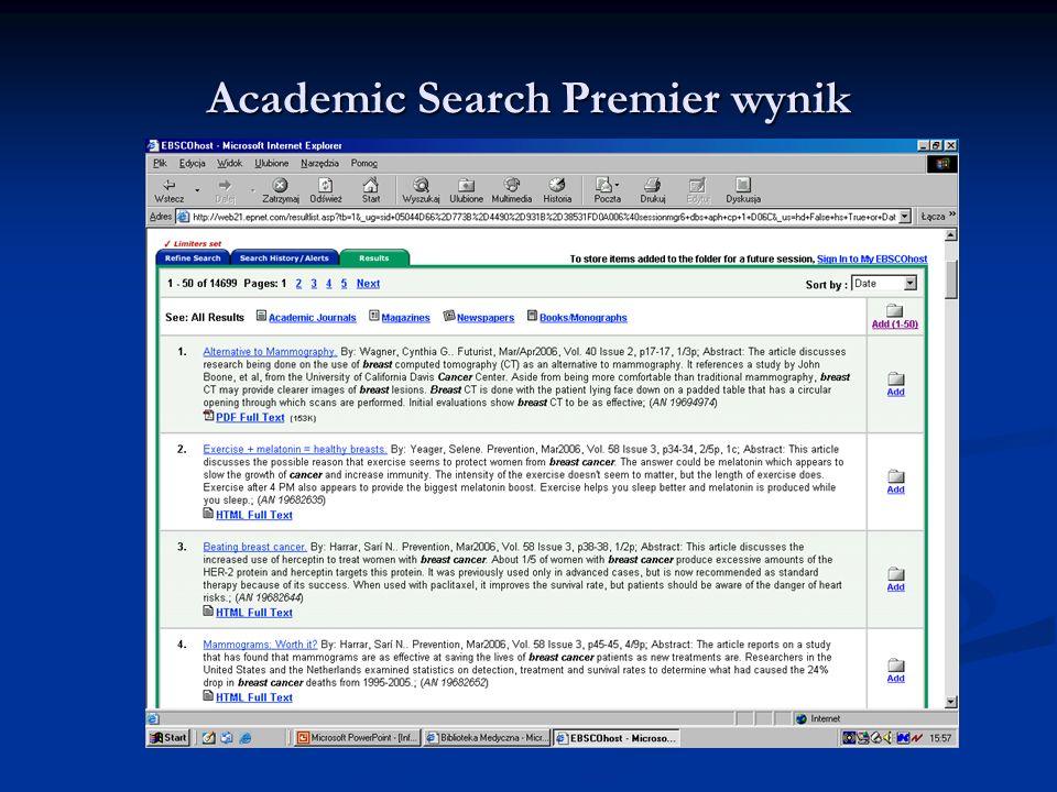 Academic Search Premier wynik