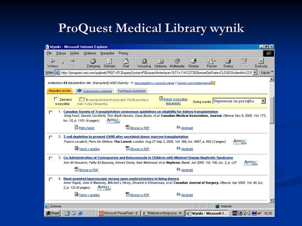 ProQuest Medical Library wynik