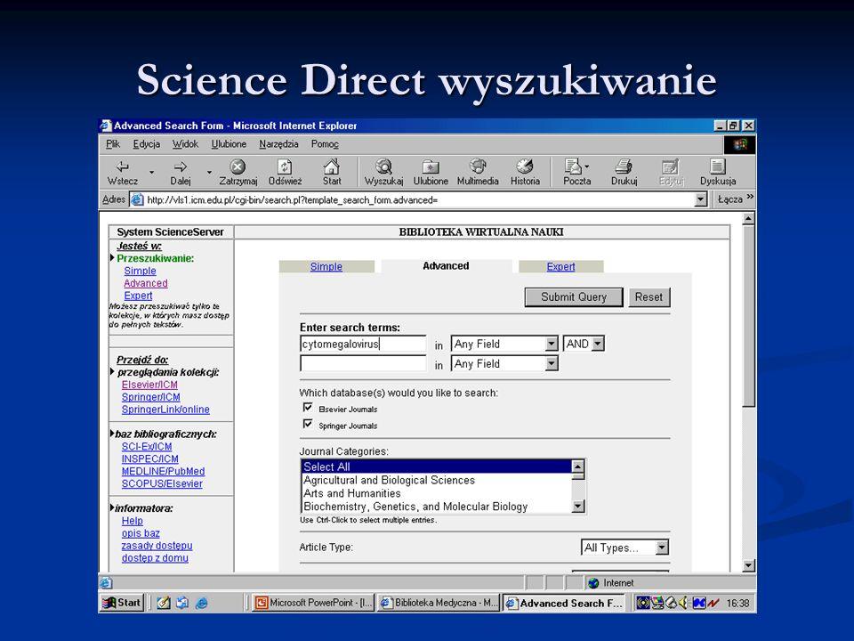 Science Direct wyszukiwanie