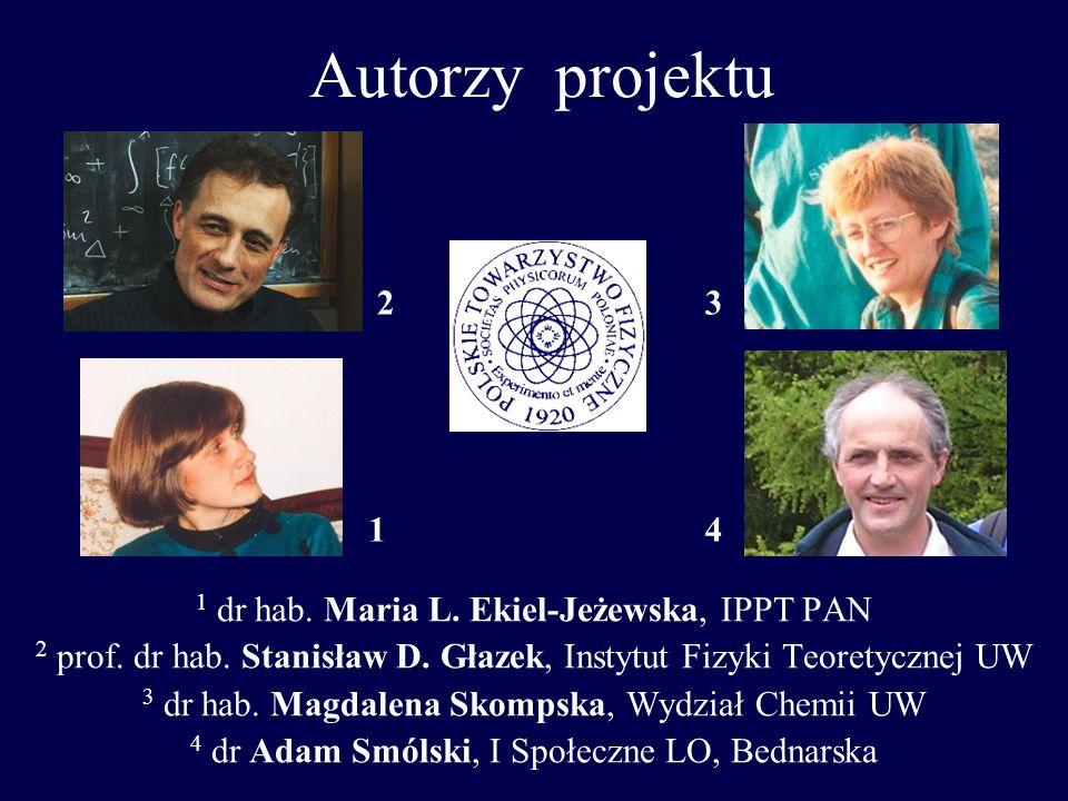 Autorzy projektu 1 dr hab. Maria L. Ekiel-Jeżewska, IPPT PAN 2 prof. dr hab. Stanisław D. Głazek, Instytut Fizyki Teoretycznej UW 3 dr hab. Magdalena