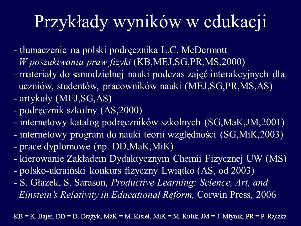 Przykłady wyników w edukacji - tłumaczenie na polski podręcznika L.C. McDermott W poszukiwaniu praw fizyki (KB,MEJ,SG,PR,MS,2000) - materiały do samod