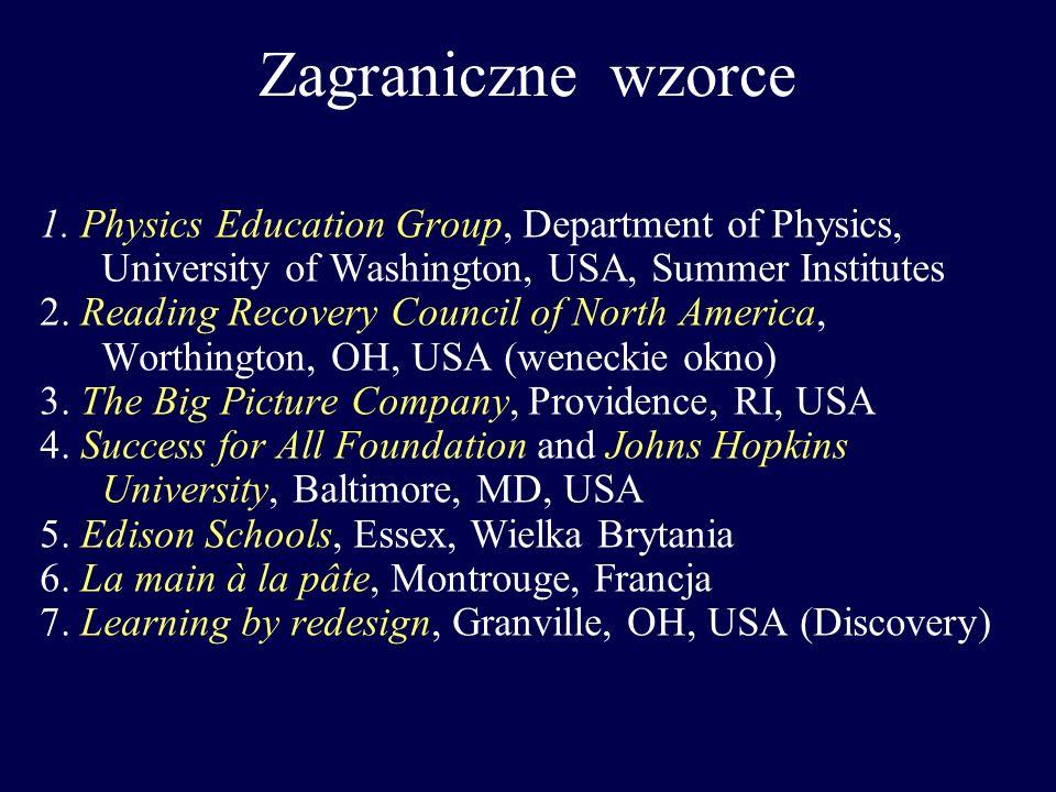 Zagraniczne wzorce 1. Physics Education Group, Department of Physics, University of Washington, USA, Summer Institutes 2. Reading Recovery Council of