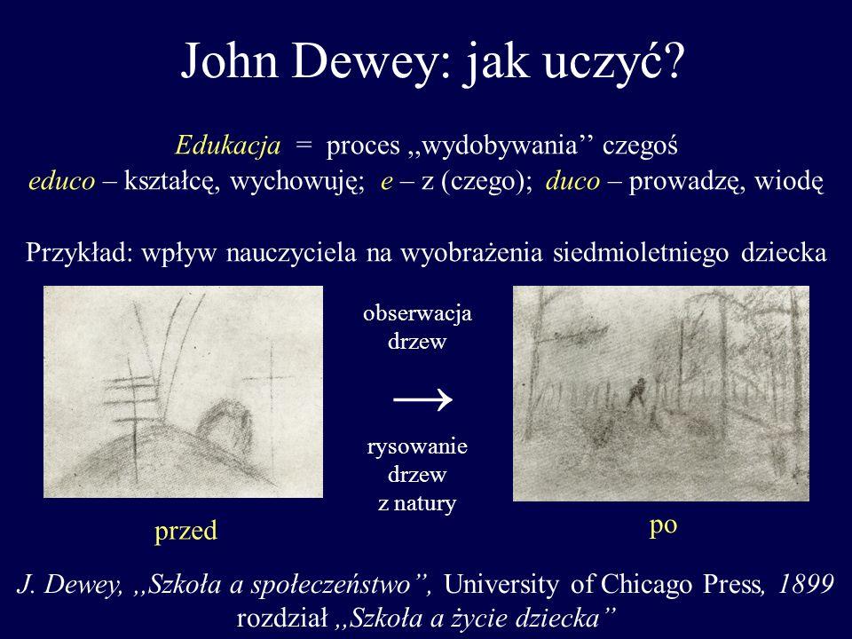 John Dewey: jak uczyć? przed po Edukacja = proces,,wydobywania czegoś educo – kształcę, wychowuję; e – z (czego); duco – prowadzę, wiodę Przykład: wpł