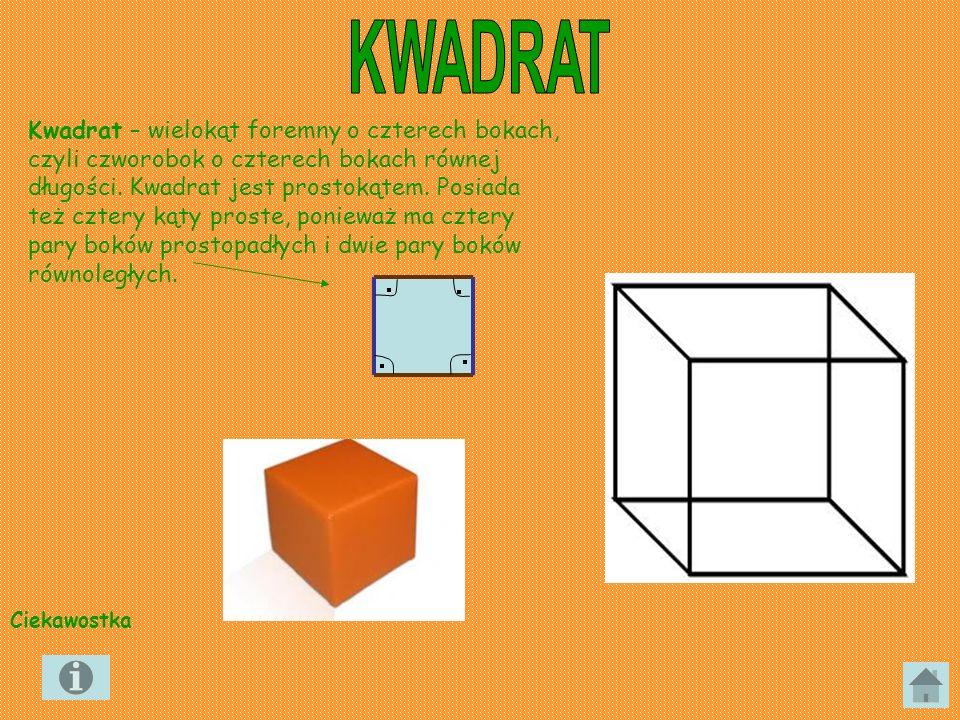 Kwadrat – wielokąt foremny o czterech bokach, czyli czworobok o czterech bokach równej długości. Kwadrat jest prostokątem. Posiada też cztery kąty pro
