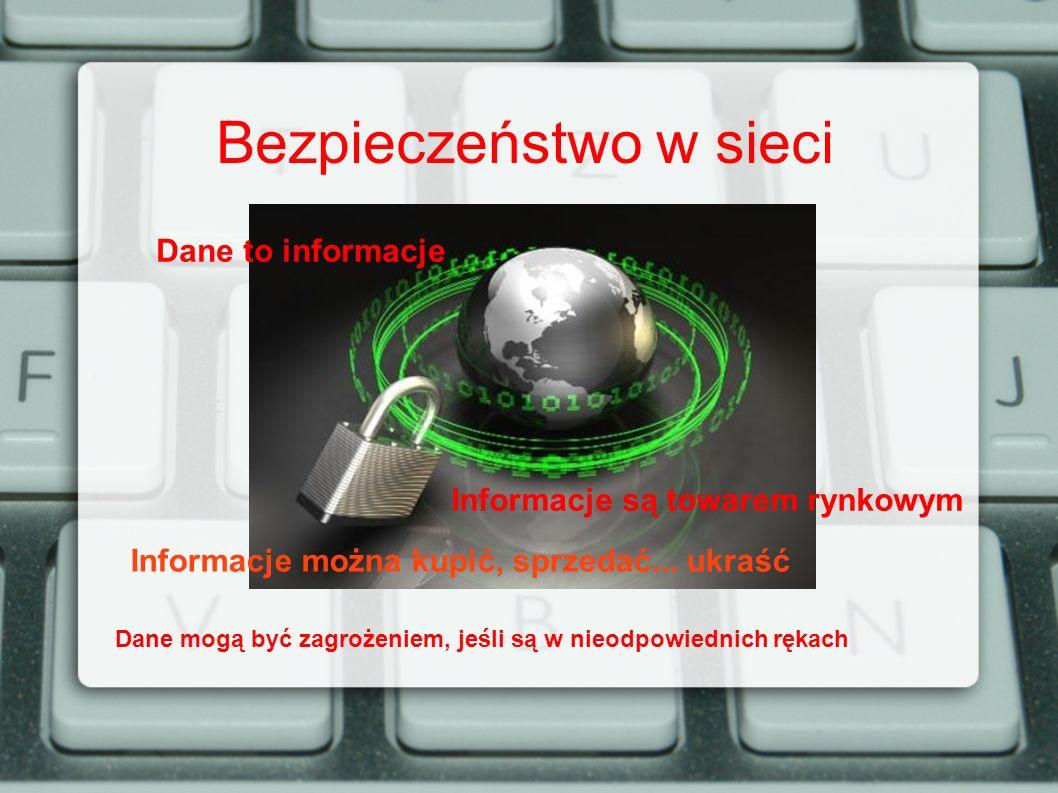 Bezpieczeństwo w sieci Dane to informacje Informacje są towarem rynkowym Informacje można kupić, sprzedać... ukraść Dane mogą być zagrożeniem, jeśli s