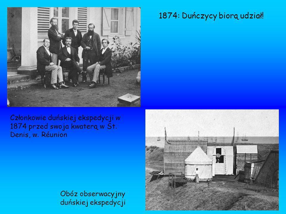 Członkowie duńskiej ekspedycji w 1874 przed swoja kwaterą w St. Denis, w. Réunion Obóz obserwacyjny duńskiej ekspedycji 1874: Duńczycy biorą udział!