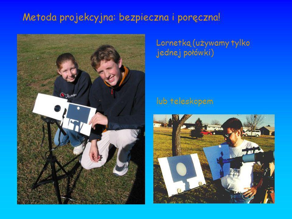 Metoda projekcyjna: bezpieczna i poręczna! Lornetką (używamy tylko jednej połówki) lub teleskopem
