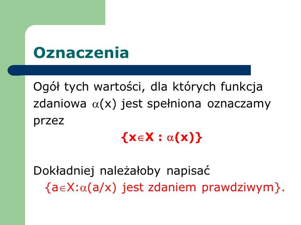 Ogół tych wartości, dla których funkcja zdaniowa (x) jest spełniona oznaczamy przez {xX : (x)} Dokładniej należałoby napisać {aX:(a/x) jest zdaniem pr