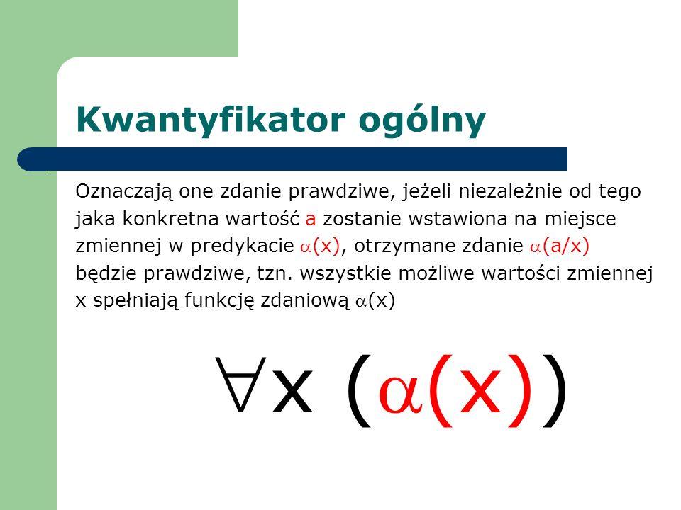 Kwantyfikator ogólny Oznaczają one zdanie prawdziwe, jeżeli niezależnie od tego jaka konkretna wartość a zostanie wstawiona na miejsce zmiennej w pred