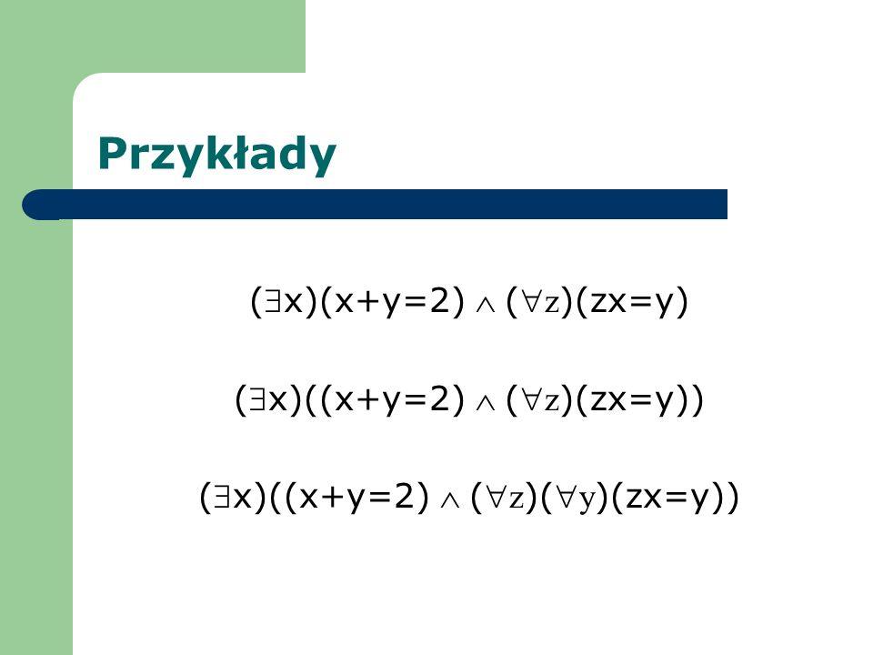 Przykłady (x)(x+y=2)( z )(zx=y) (x)((x+y=2) ( z )(zx=y)) (x)((x+y=2) ( z )( y )(zx=y))