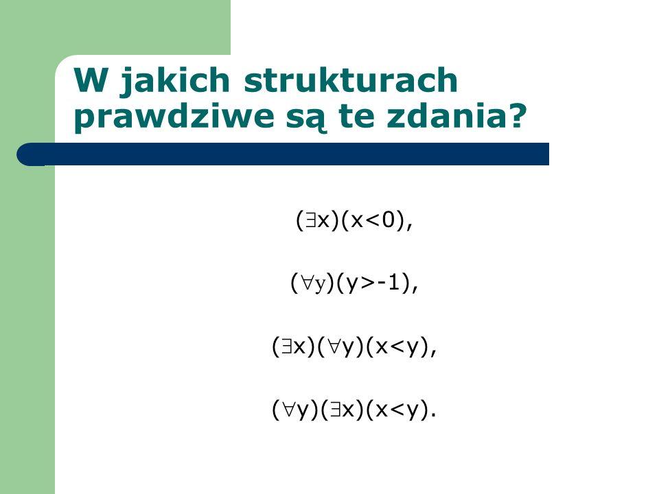 W jakich strukturach prawdziwe są te zdania? (x)(x<0), ( y )(y>-1), (x)(y)(x<y), (y)(x)(x<y).