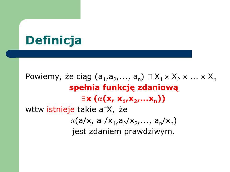 Definicja Powiemy, że ciąg (a 1,a 2,..., a n ) X 1 X 2... X n spełnia funkcję zdaniową x ((x, x 1,x 2,...x n )) wttw istnieje takie aX, że (a/x, a 1 /