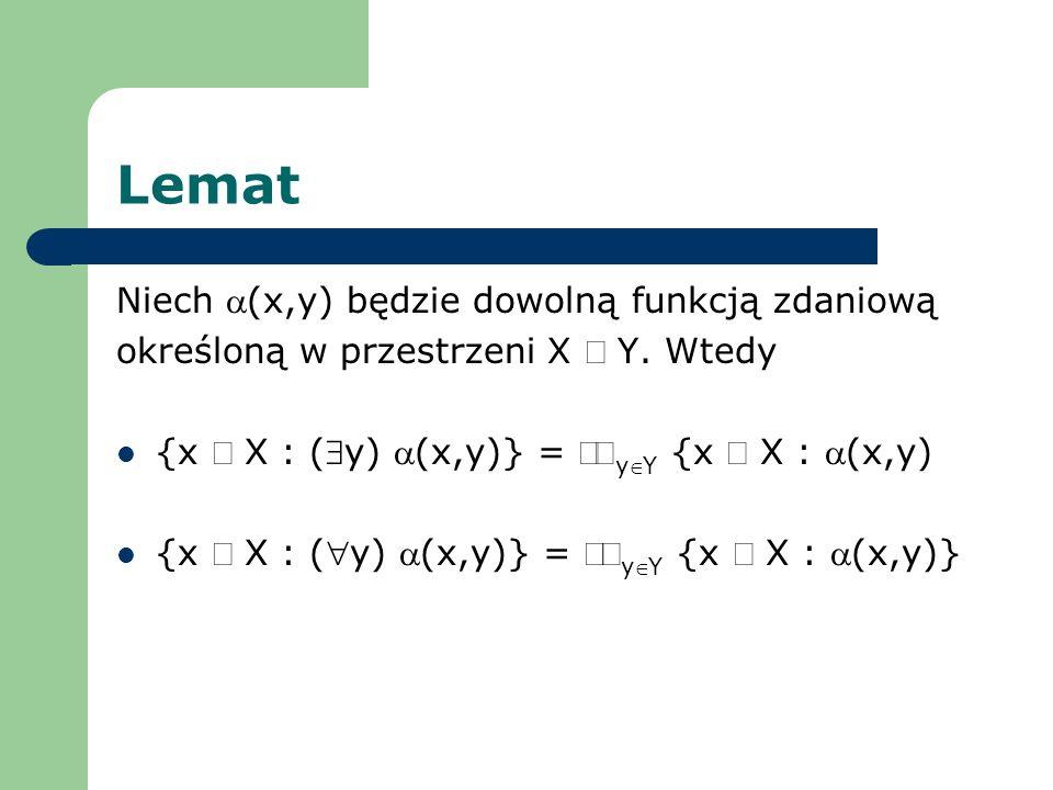 Lemat Niech (x,y) będzie dowolną funkcją zdaniową określoną w przestrzeni X Y. Wtedy {x X : (y) (x,y)} = yY {x X : (x,y) {x X : (y) (x,y)} = yY {x X :