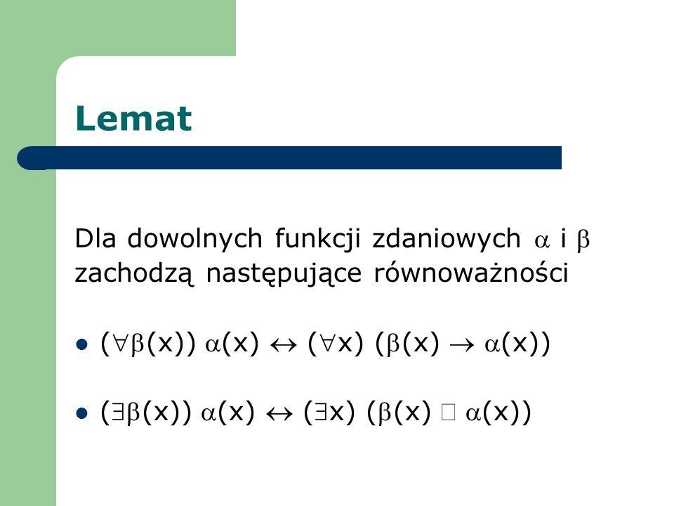 Lemat Dla dowolnych funkcji zdaniowych i zachodzą następujące równoważności ((x)) (x) (x) ((x) (x))