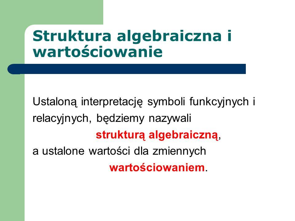 Struktura algebraiczna i wartościowanie Ustaloną interpretację symboli funkcyjnych i relacyjnych, będziemy nazywali strukturą algebraiczną, a ustalone