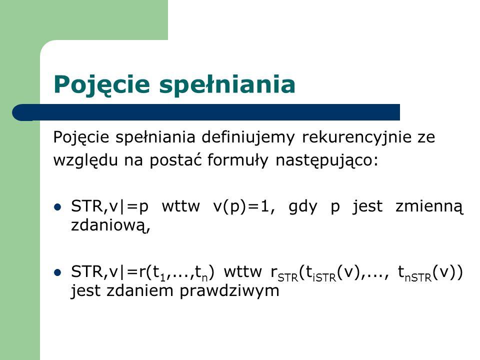Pojęcie spełniania Pojęcie spełniania definiujemy rekurencyjnie ze względu na postać formuły następująco: STR,v|=p wttw v(p)=1, gdy p jest zmienną zda