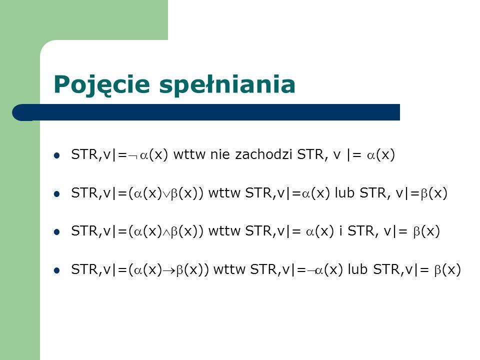 Pojęcie spełniania STR,v|= (x) wttw nie zachodzi STR, v |= (x) STR,v|=((x)(x)) wttw STR,v|=(x) lub STR, v|=(x) STR,v|=((x)(x)) wttw STR,v|= (x) i STR,