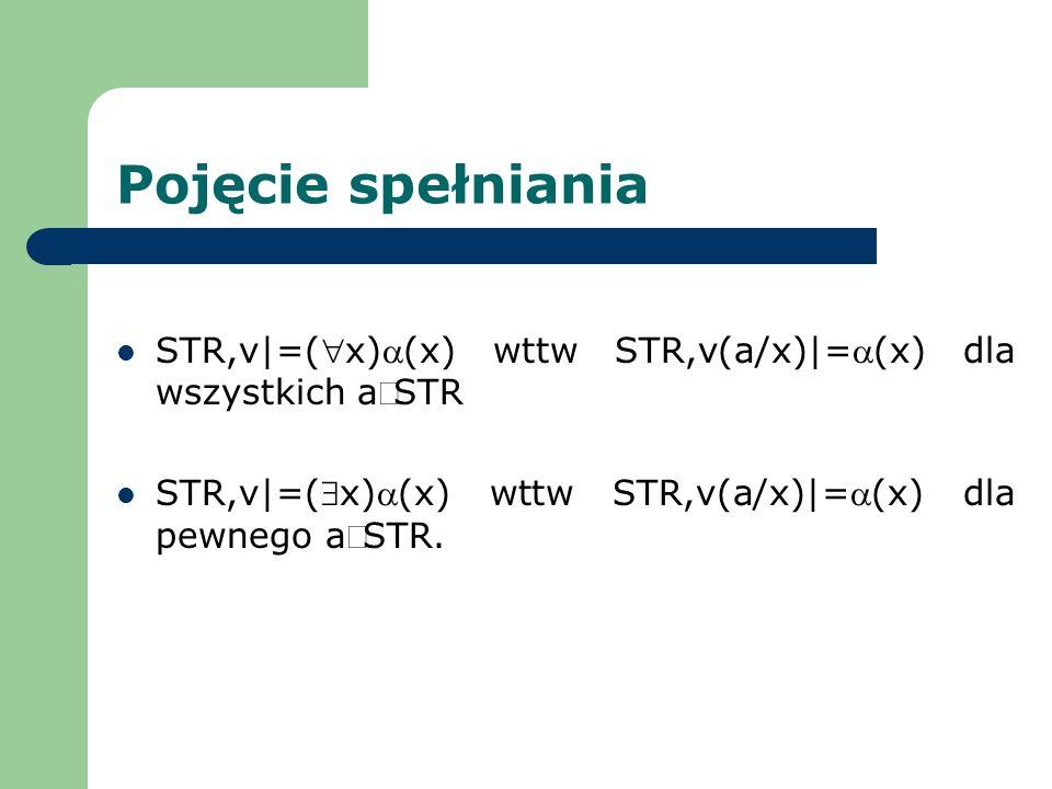 Pojęcie spełniania STR,v|=(x)(x) wttw STR,v(a/x)|=(x) dla wszystkich aSTR STR,v|=(x)(x) wttw STR,v(a/x)|=(x) dla pewnego aSTR.