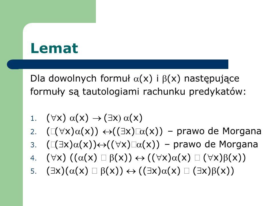 Lemat Dla dowolnych formuł (x) i (x) następujące formuły są tautologiami rachunku predykatów: 1. (x) (x) (x(x) 2. ((x)(x)) ((x)(x)) – prawo de Morgana