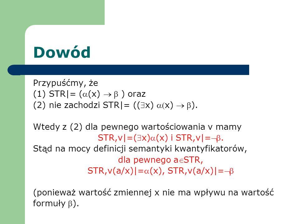 Dowód Przypuśćmy, że (1) STR|= ((x) ) oraz (2) nie zachodzi STR|= ((x) x) ). Wtedy z (2) dla pewnego wartościowania v mamy STR,v|=(x)(x) i STR,v|=. St
