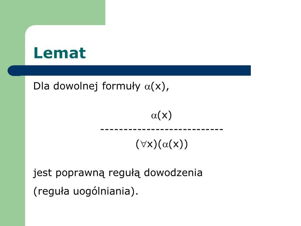 Lemat Dla dowolnej formuły (x), (x) --------------------------- (x)((x)) jest poprawną regułą dowodzenia (reguła uogólniania).