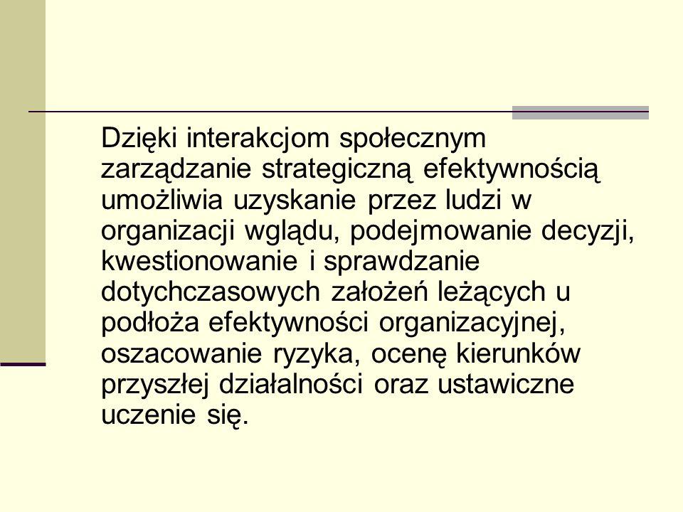 Dzięki interakcjom społecznym zarządzanie strategiczną efektywnością umożliwia uzyskanie przez ludzi w organizacji wglądu, podejmowanie decyzji, kwest