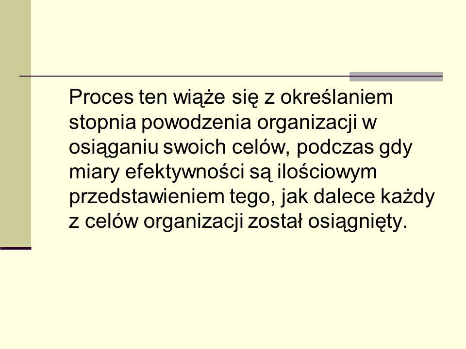 Proces ten wiąże się z określaniem stopnia powodzenia organizacji w osiąganiu swoich celów, podczas gdy miary efektywności są ilościowym przedstawieni