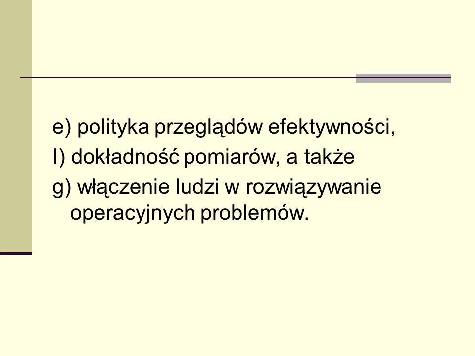 e) polityka przeglądów efektywności, I) dokładność pomiarów, a także g) włączenie ludzi w rozwiązywanie operacyjnych problemów.