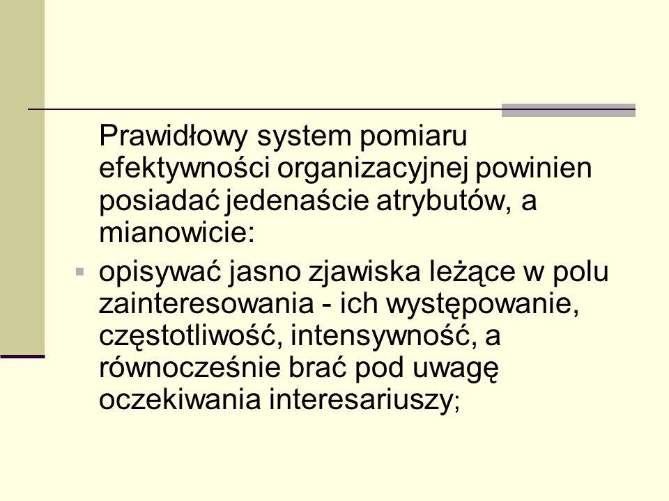 Prawidłowy system pomiaru efektywności organizacyjnej powinien posiadać jedenaście atrybutów, a mianowicie: opisywać jasno zjawiska leżące w polu zain