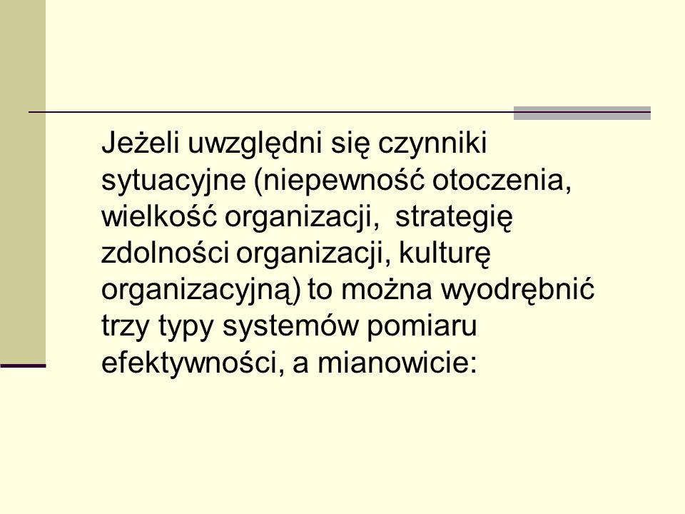 Jeżeli uwzględni się czynniki sytuacyjne (niepewność otoczenia, wielkość organizacji, strategię zdolności organizacji, kulturę organizacyjną) to można