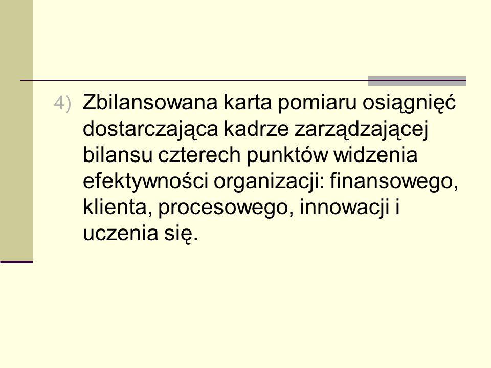 4) Zbilansowana karta pomiaru osiągnięć dostarczająca kadrze zarządzającej bilansu czterech punktów widzenia efektywności organizacji: finansowego, kl