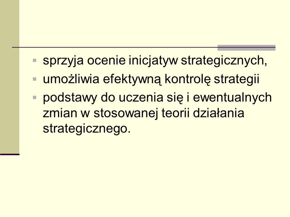sprzyja ocenie inicjatyw strategicznych, umożliwia efektywną kontrolę strategii podstawy do uczenia się i ewentualnych zmian w stosowanej teorii dział