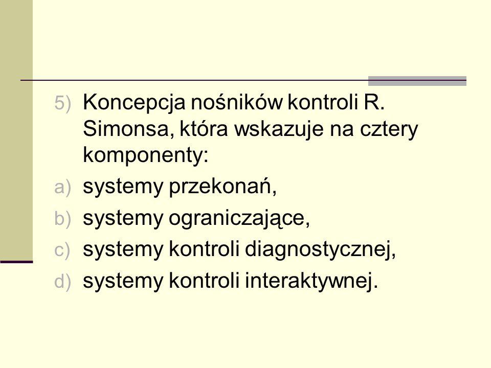 5) Koncepcja nośników kontroli R. Simonsa, która wskazuje na cztery komponenty: a) systemy przekonań, b) systemy ograniczające, c) systemy kontroli di