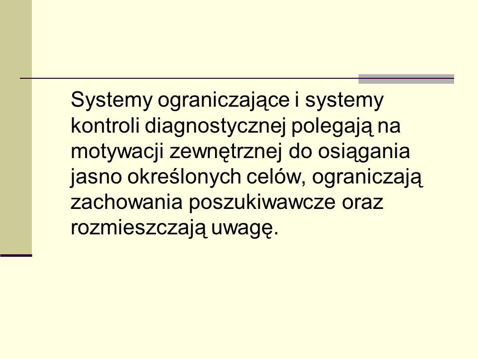 Systemy ograniczające i systemy kontroli diagnostycznej polegają na motywacji zewnętrznej do osiągania jasno określonych celów, ograniczają zachowania