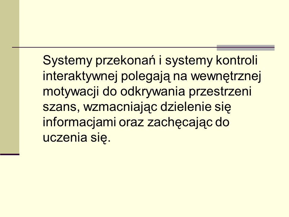 Systemy przekonań i systemy kontroli interaktywnej polegają na wewnętrznej motywacji do odkrywania przestrzeni szans, wzmacniając dzielenie się inform