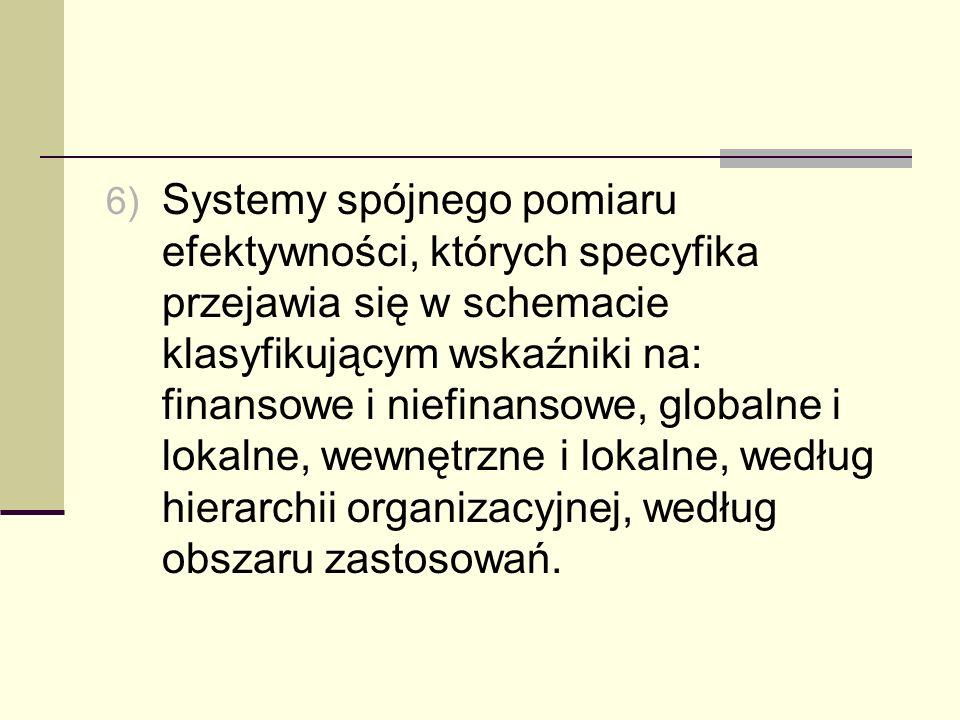 6) Systemy spójnego pomiaru efektywności, których specyfika przejawia się w schemacie klasyfikującym wskaźniki na: finansowe i niefinansowe, globalne