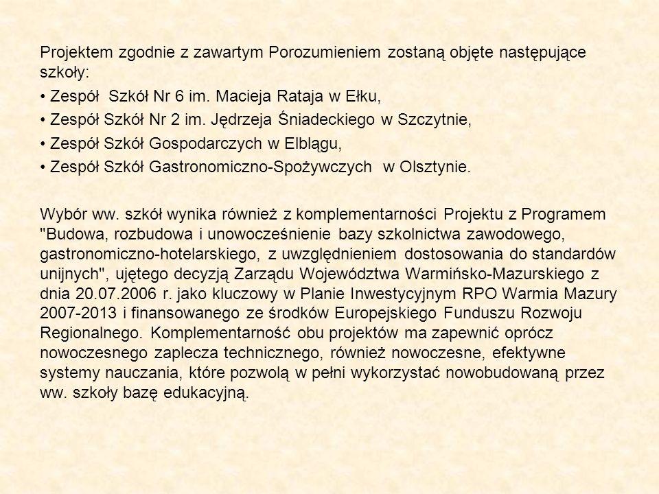 Projektem zgodnie z zawartym Porozumieniem zostaną objęte następujące szkoły: Zespół Szkół Nr 6 im. Macieja Rataja w Ełku, Zespół Szkół Nr 2 im. Jędrz