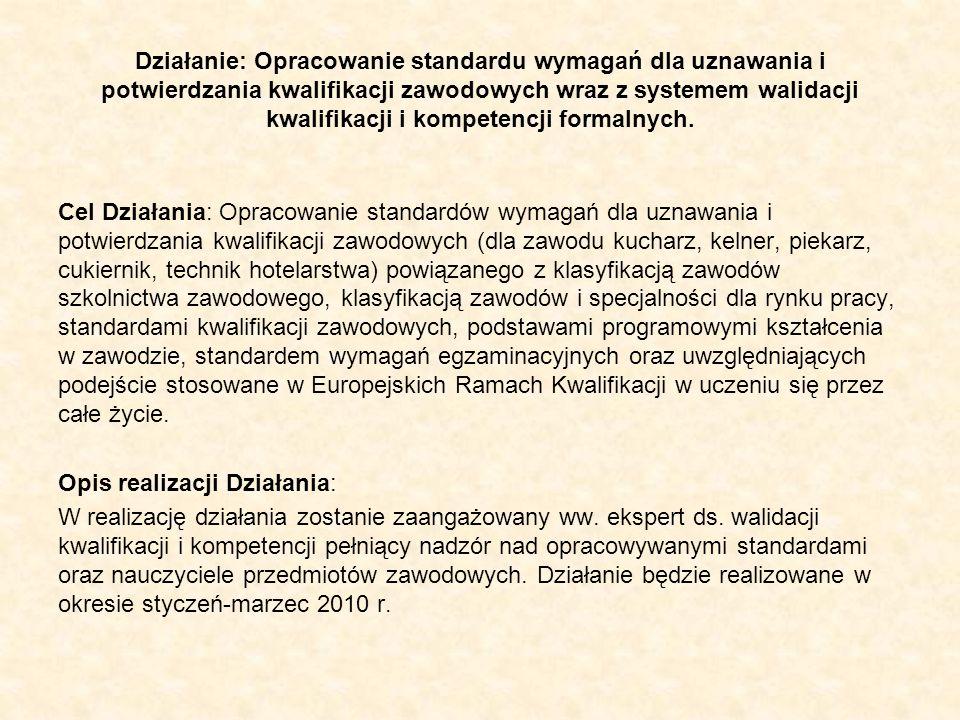 Działanie: Opracowanie standardu wymagań dla uznawania i potwierdzania kwalifikacji zawodowych wraz z systemem walidacji kwalifikacji i kompetencji fo