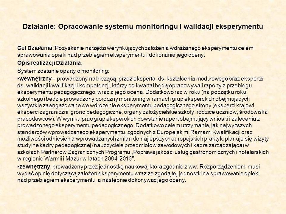 Działanie: Opracowanie systemu monitoringu i walidacji eksperymentu Cel Działania: Pozyskanie narzędzi weryfikujących założenia wdrażanego eksperyment