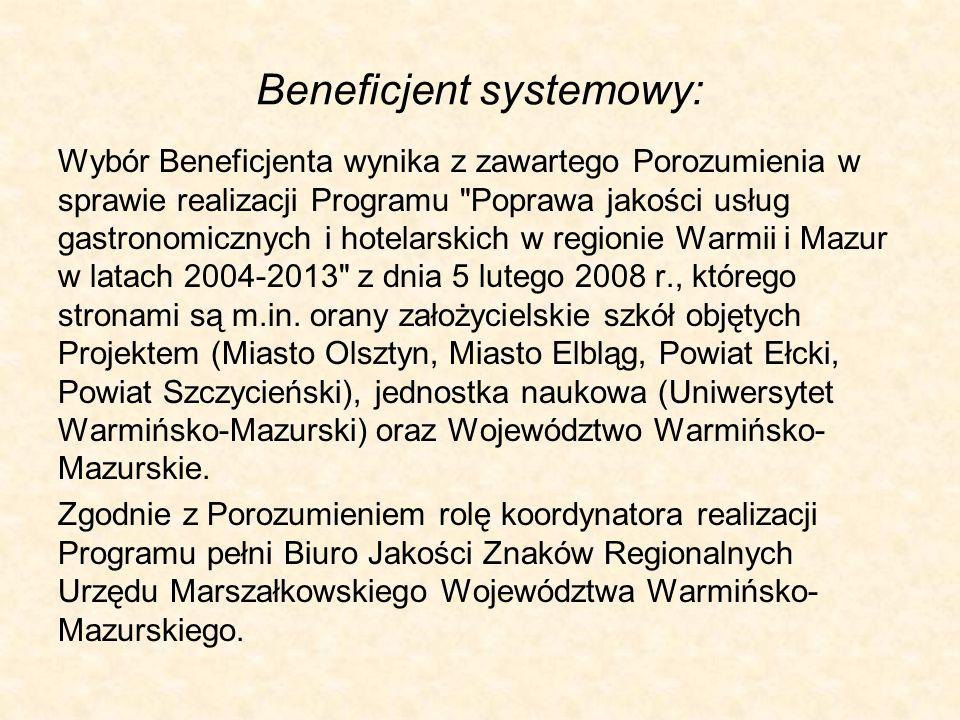 Beneficjent systemowy: Wybór Beneficjenta wynika z zawartego Porozumienia w sprawie realizacji Programu